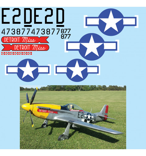 "P-51D Mustang (""Detroit Miss"") Vinyl Graphics"