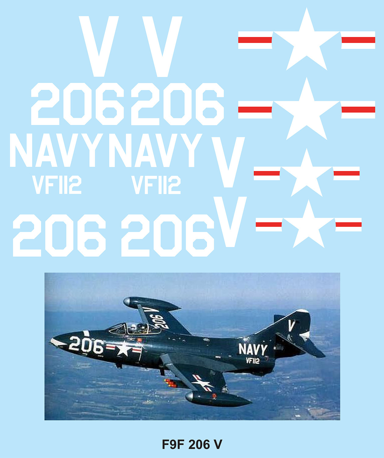 F9F Panther 206 (No Nose art) Vinyl Graphics