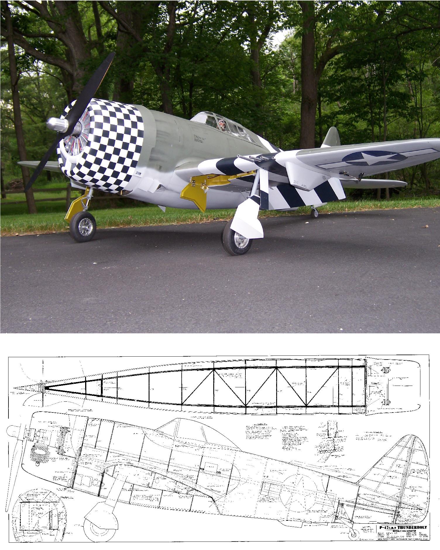 """P-47 Thunderbolt 70"""" Plan"""